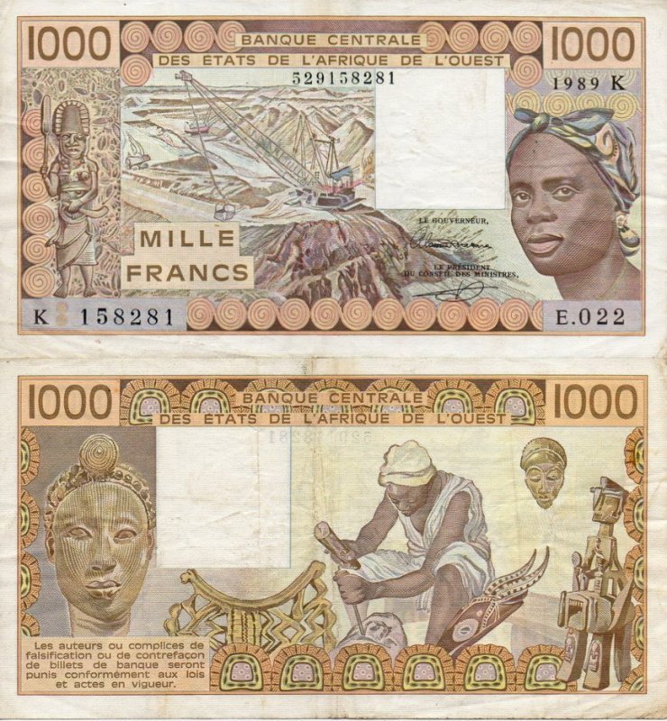West African States 1,000 Francs Banknote, 1989, P-707Ki