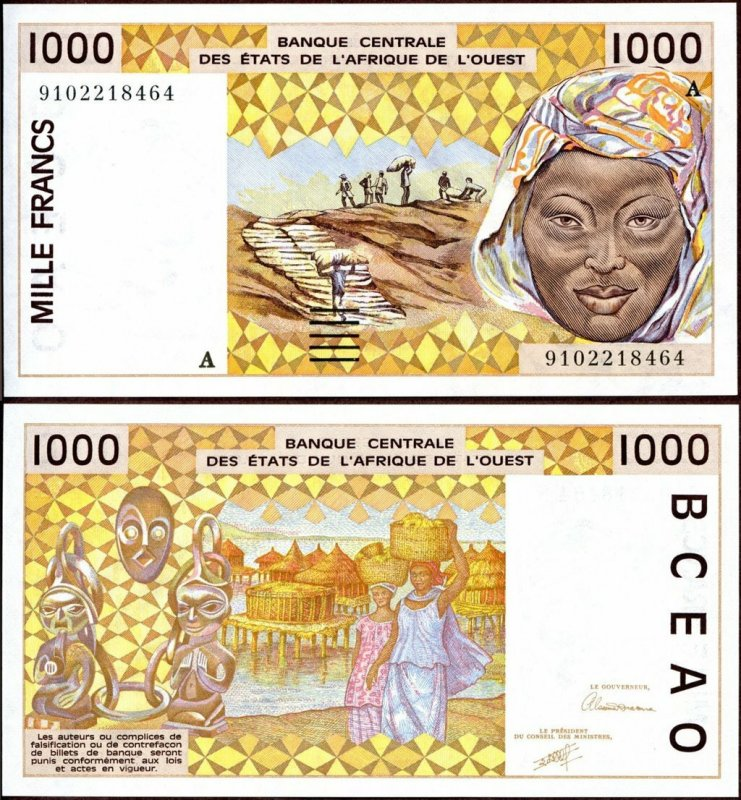 West African States 1,000 Francs Banknote, 1991, P-111Aa