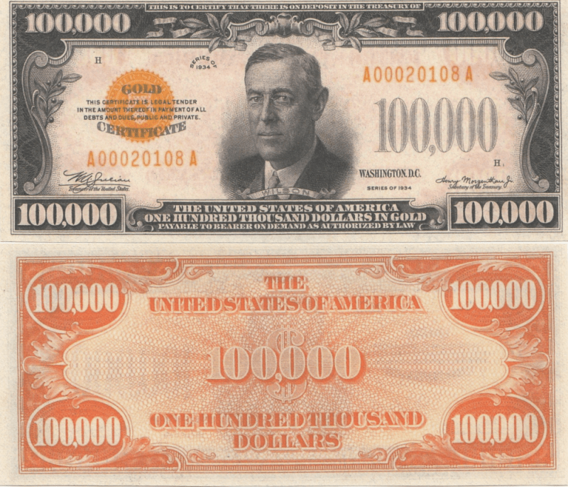 United States 100,000 Dollars Banknote, 1934, P-411
