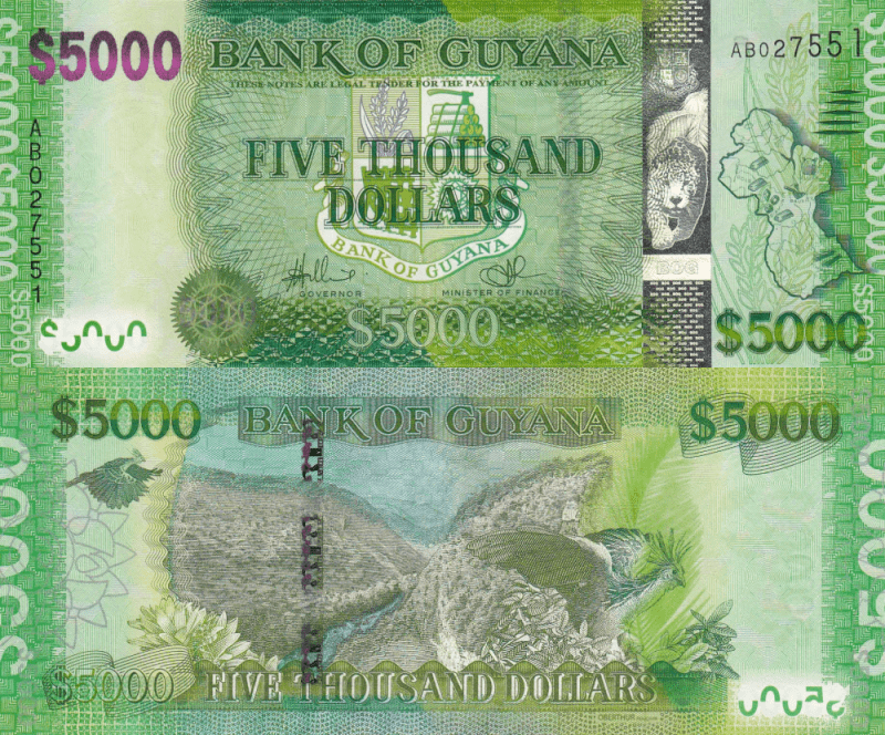 Guyana 5,000 Dollars Banknote, 2013, P-UNLISTED