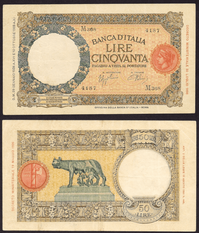 Italy 50 Lire Banknote, 1938, P-54b