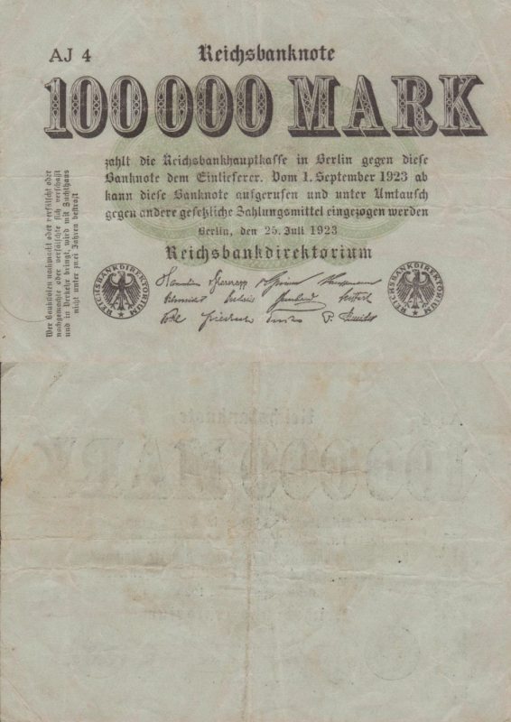 Germany 100,000 Mark Banknote, 1923, P-91