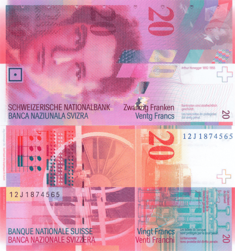 Switzerland 20 Francs Banknote, 2012, P-69f