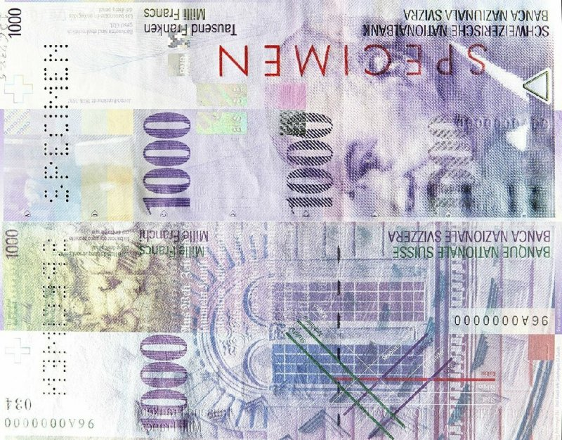 Switzerland 1,000 Francs Banknote, 1999, P-74as