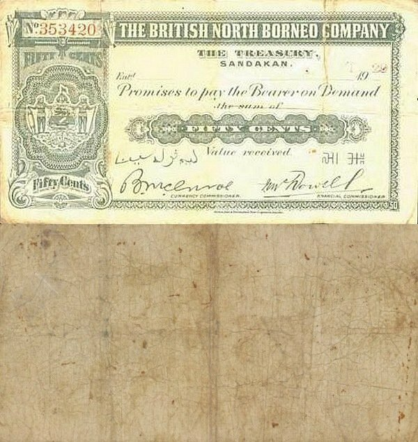 British North Borneo 50 Cents Banknote, 1920, P-14a.4