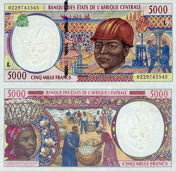 Central African States 5,000 Francs Banknote, 2002, P-404Lg