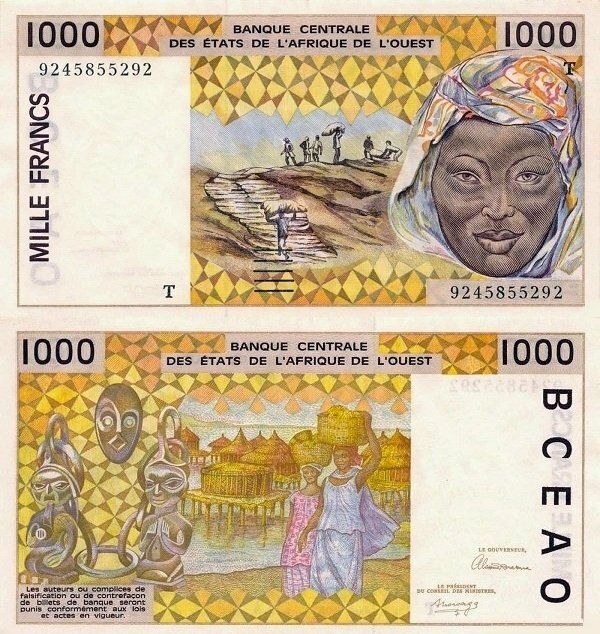 West African States 1,000 Francs Banknote, 1992, P-811Tb