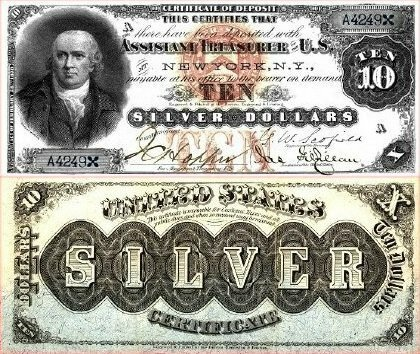 United States 10 Silver Dollars Banknote, 1878, P-309