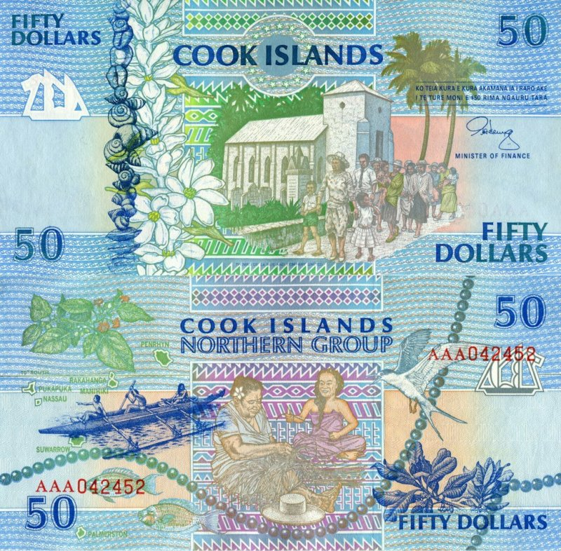 50 Dollars Cook Islands's Banknote