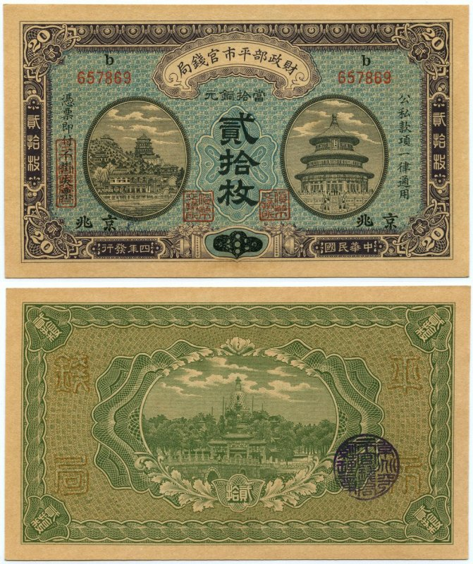 China 20 Coppers Banknote, 1915, P-600e