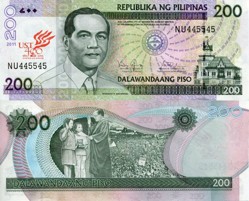Philippines 200 Pesos Banknote, 2011, P-213 A