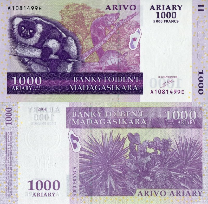 Madagascar 1,000 Ariary Banknote, 2004, P-89a
