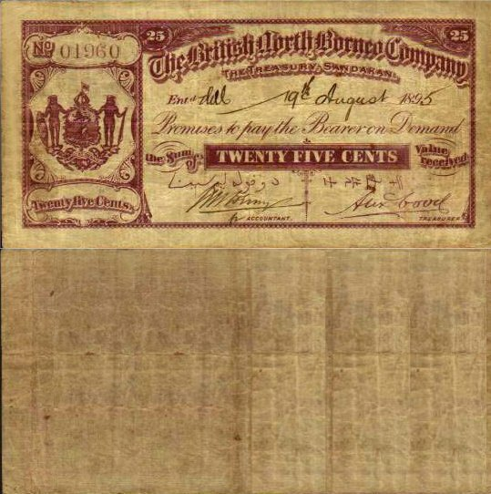 British North Borneo 25 Cents Banknote, 1895, P-1