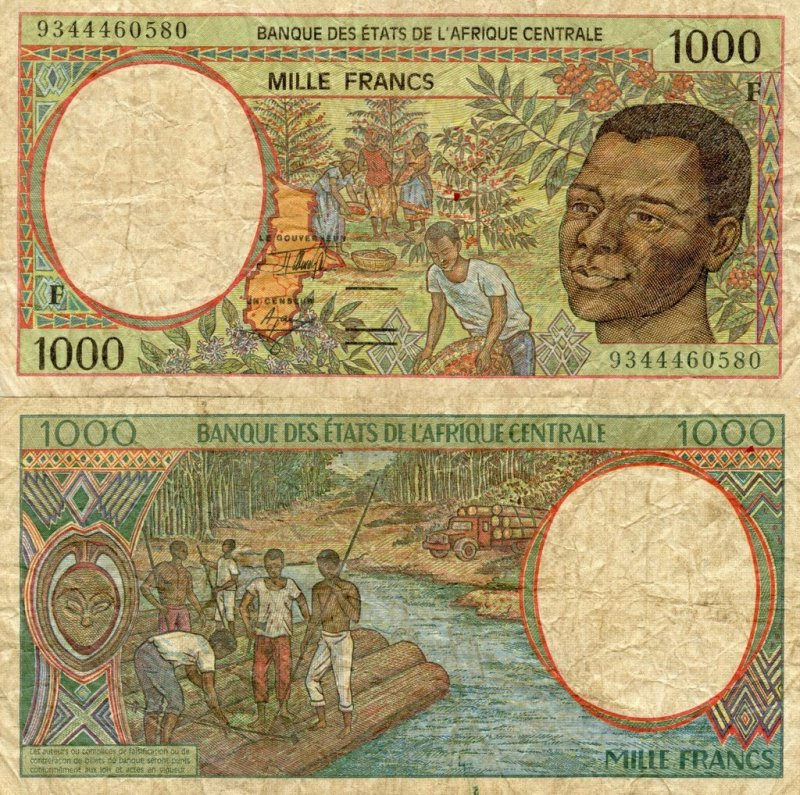 Central African States 1,000 Francs Banknote, 1993, P-302Fa