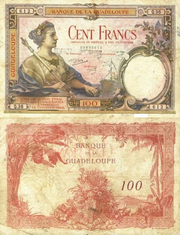 Guadeloupe 100 Francs Banknote, 1934, P-16