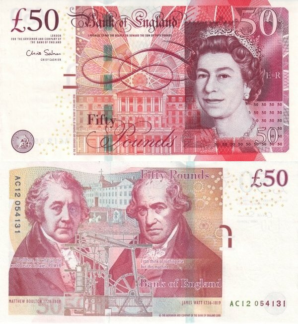 Great Britain/England 50 Pounds Banknote, 2011, P-393a
