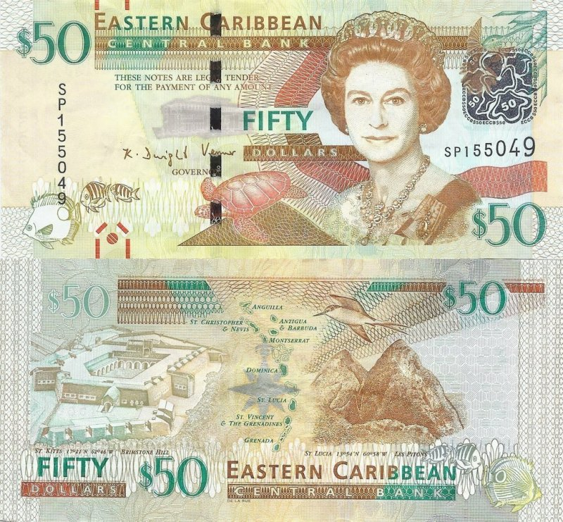 East Caribbean States 50 Dollars Banknote, 2015, P-54b