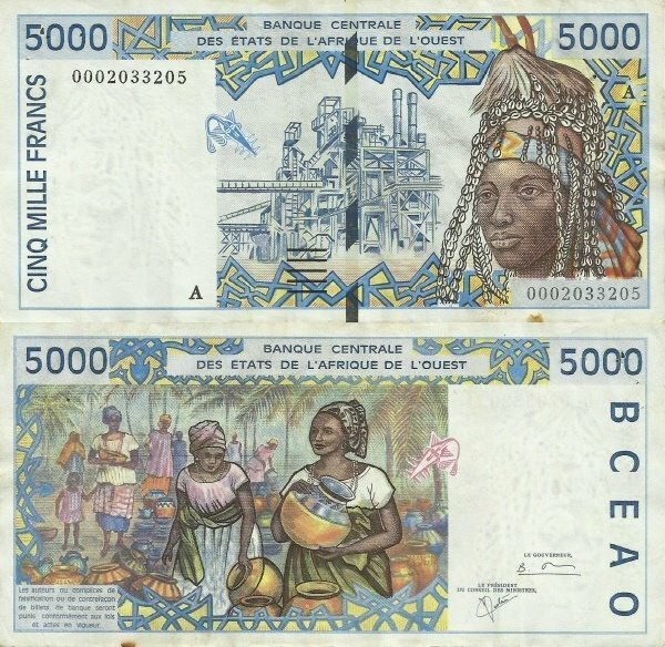 West African States 5,000 Francs Banknote, 2000, P-113Aj