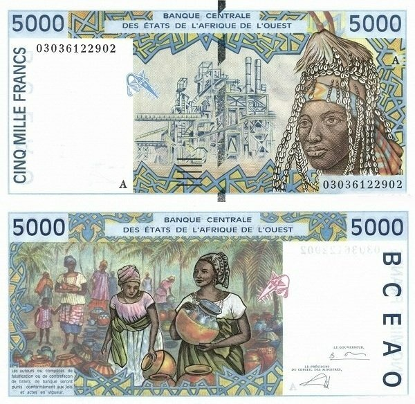 West African States 5,000 Francs Banknote, 2003, P-113Am