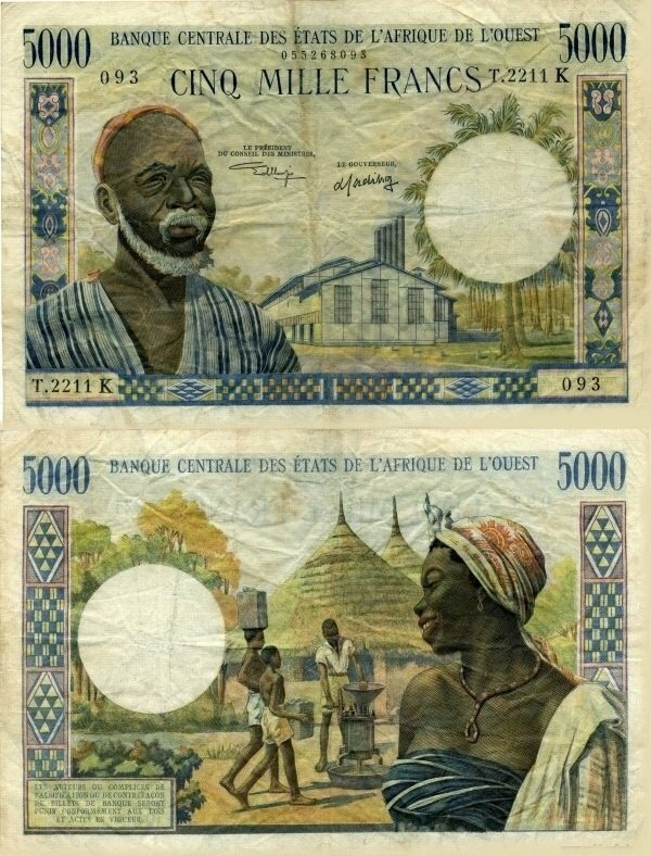 West African States 5,000 Francs Banknote, 1965, P-704Kl