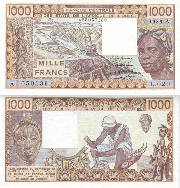 West African States 1,000 Francs Banknote, 1989, P-107Ai