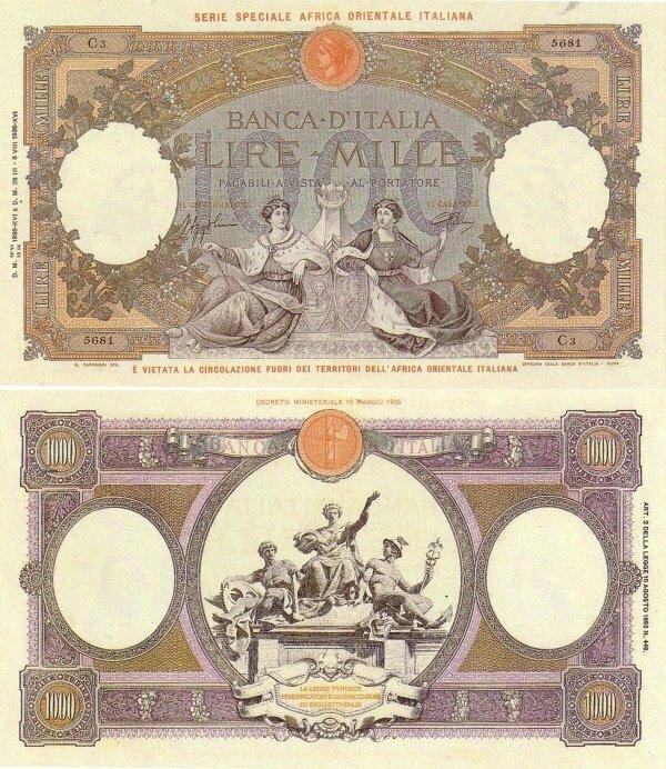 Banknote World Educational Italian East Africa 1000 Lire
