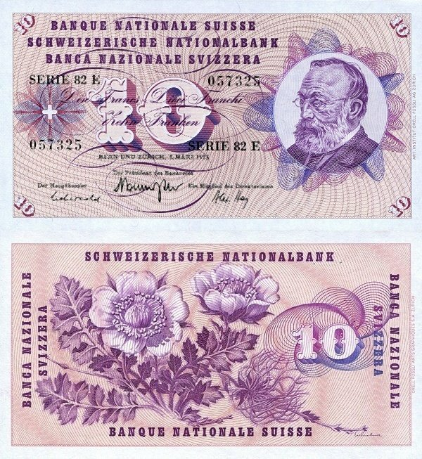 Switzerland 10 Francs Banknote, 1973, P-45s.2