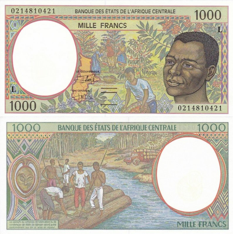 Central African States 1,000 Franc Banknote, 2002, P-402Lh