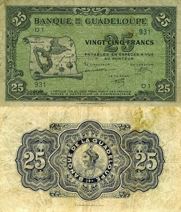 Guadeloupe 25 Francs Banknote, 1942, P-22a