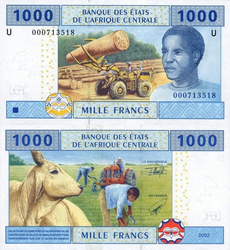 Central African States 1,000 Francs Banknote, 2002, P-207Ua