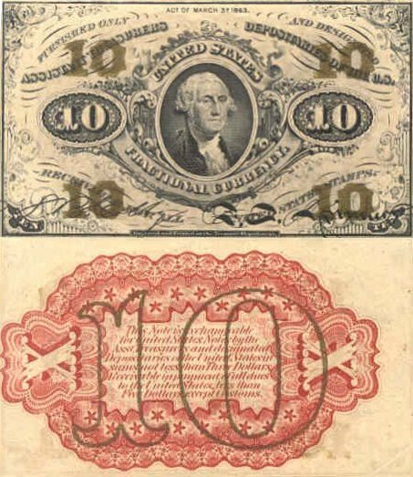 United States 10 Cents Banknote, 1863, P-108a