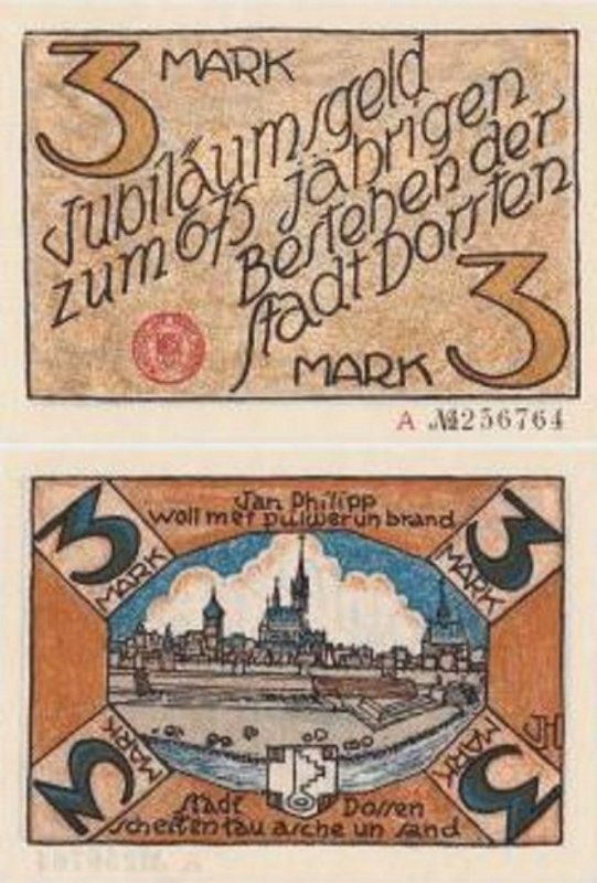 Germany/Notgeld 3 Mark Banknote, 1922, P-Gra:0282.1-5/6