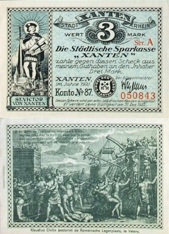 Germany/Notgeld 3 Mark Banknote, 1921, P-Gra:1465.1a-7/8