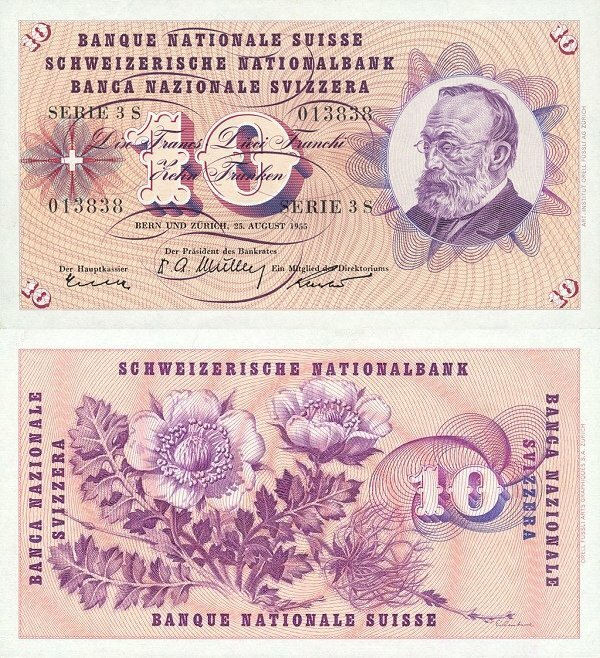 Switzerland 10 Francs Banknote, 1955, P-45a.3
