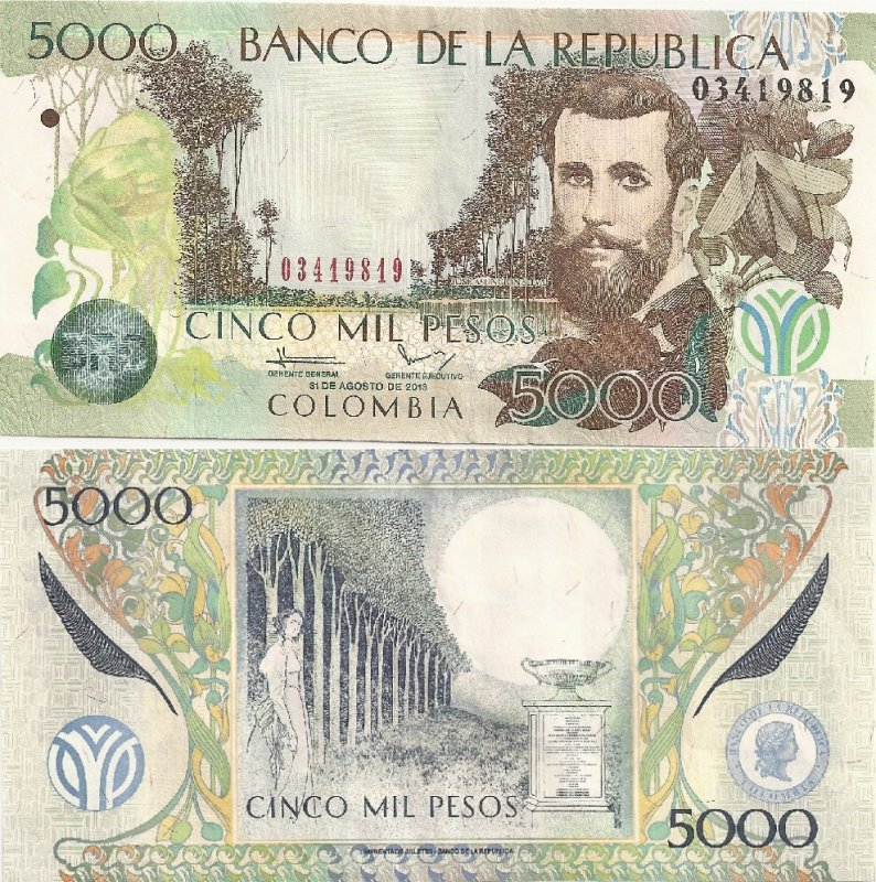 Colombia 5,000 Pesos Banknote, 2013, P-452q