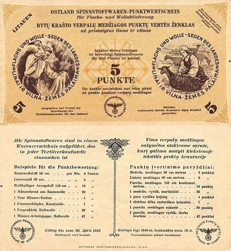 Lithuania 5 Punkte Banknote, 1943, P-NL3