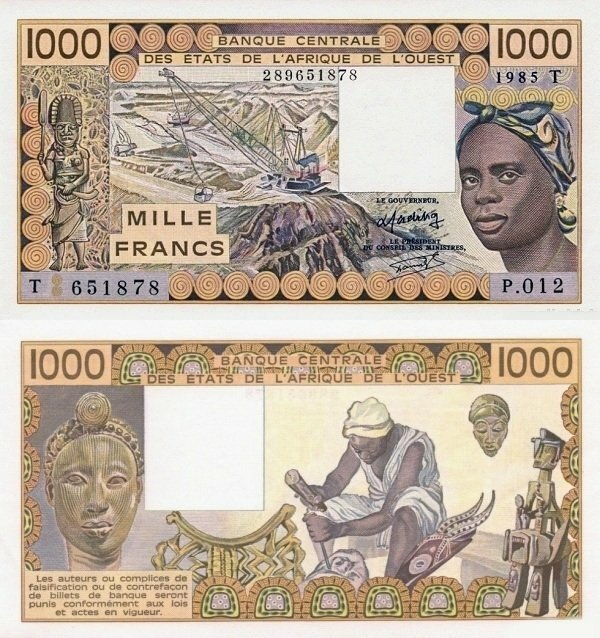 West African States 1,000 Francs Banknote, 1985, P-807Te