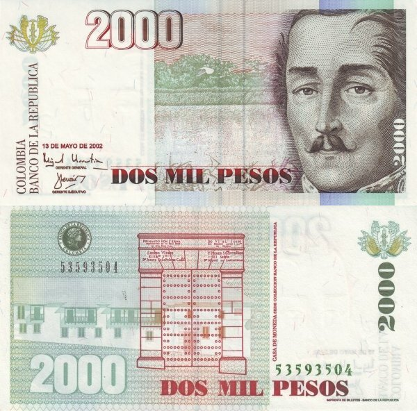 Colombia 2,000 Pesos Banknote, 2002, P-451f