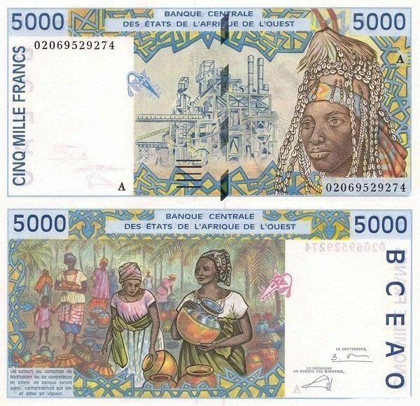 West African States 5,000 Francs Banknote, 2002, P-113Al