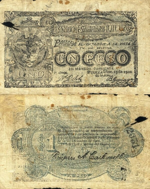 Colombia 1 Peso Banknote, 1900, P-S248