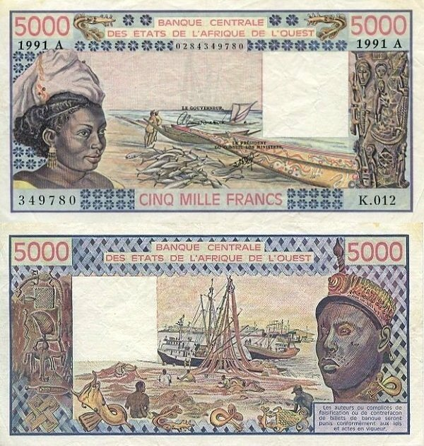West African States 5,000 Francs Banknote, 1991, P-108Ar