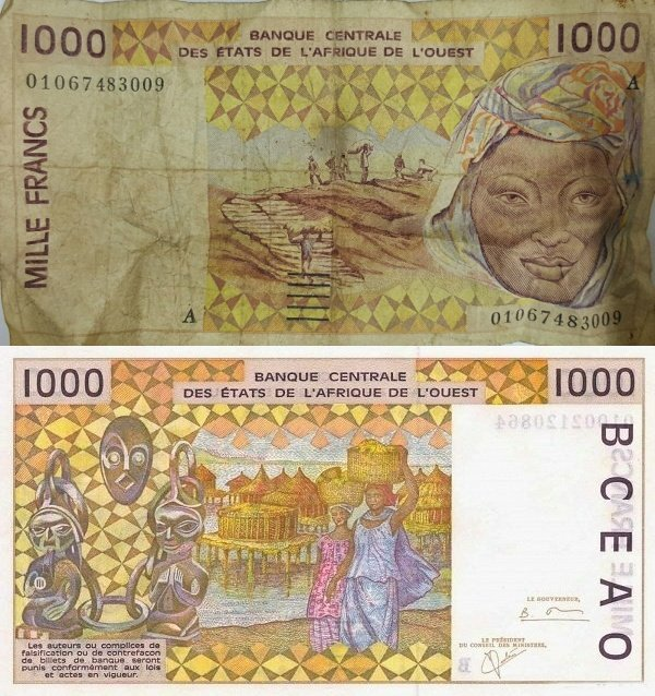 West African States 1,000 Francs Banknote, 2001, P-111Aj