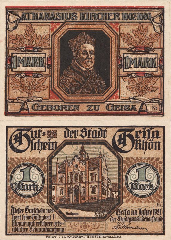 Germany/Notgeld 1 Mark Banknote, 1921, P-Gra:0413.1-8/9