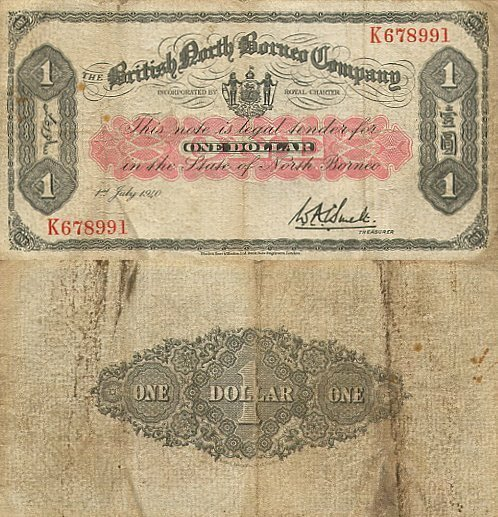 British North Borneo 1 Dollar Banknote, 1940, P-29