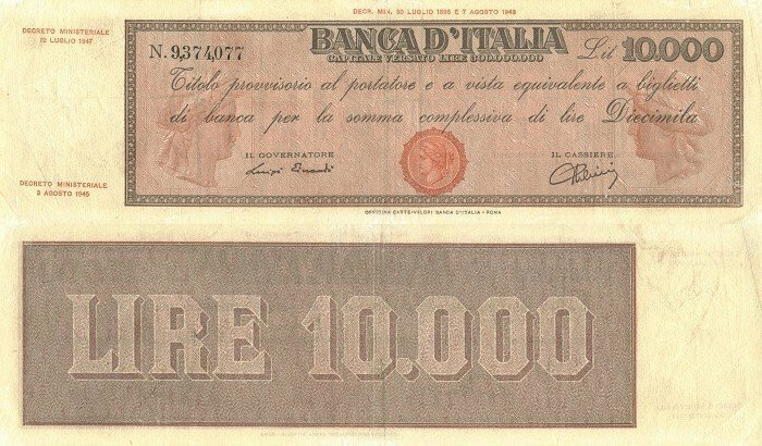 Italy 10,000 Lire Banknote, 1945, P-79a.3