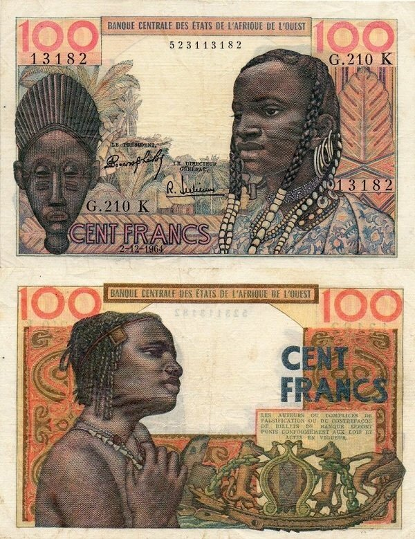 West African States 100 Francs Banknote, 1964, P-701Kd