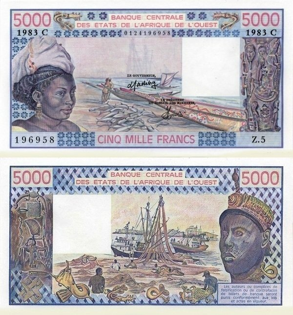 West African States 5,000 Francs Banknote, 1983, P-308Ch