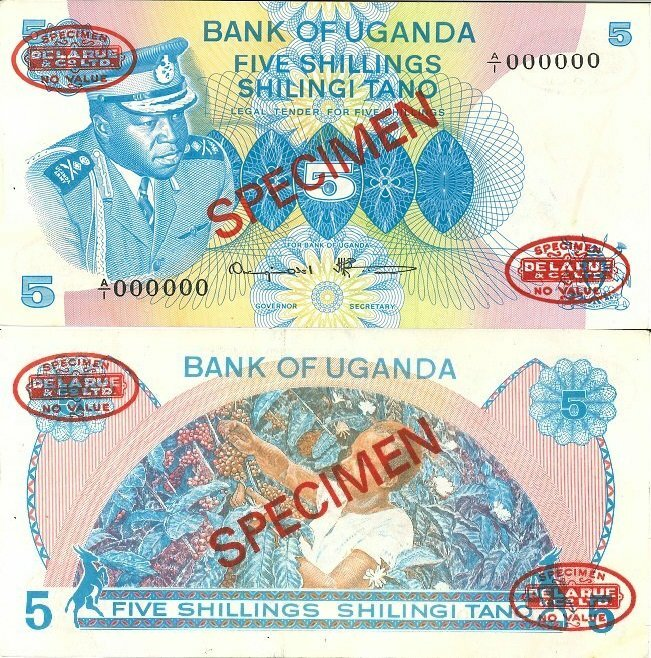 Uganda 5 Shillings Banknote, 1977, P-5As