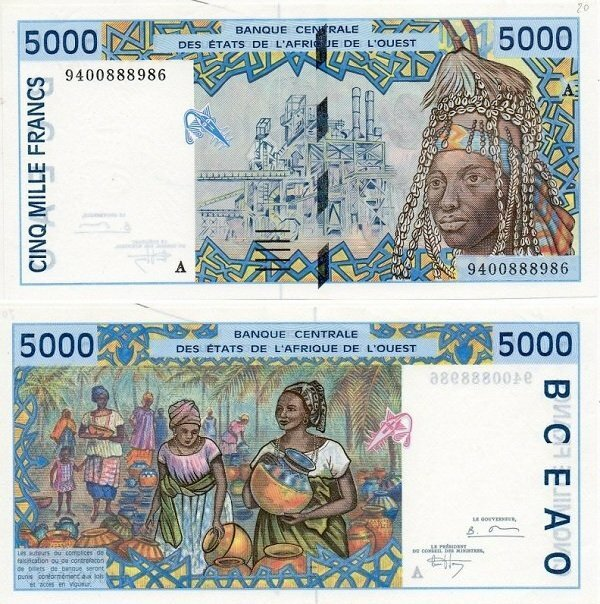 West African States 5,000 Francs Banknote, 1994, P-113Ac
