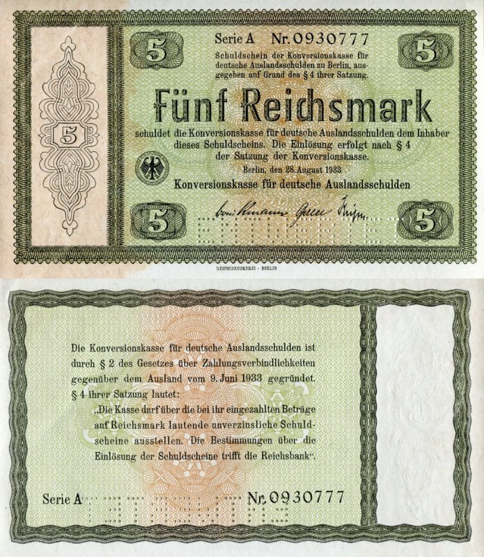 Germany 5 Reichsmark Banknote, 1933, P-199s1